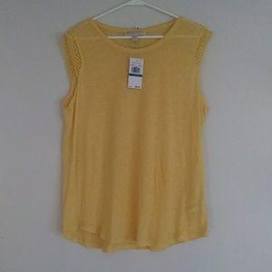 Michael Kors Sheer Yellow Top Sz XL